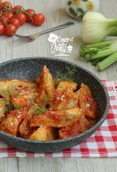 FINOCCHI ALLA PIZZAIOLA IN PADELLA Raw Food Recipes, Italian Recipes, Vegetarian Recipes, Cooking Recipes, Healthy Recipes, I Love Food, Good Food, My Favorite Food, Favorite Recipes