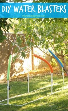 """Once your kids tire of the sprinkler halfway through the summer, jazz up their water play with pool noodles and PVC pipe to create these """"blasters"""" they can move and direct. Click through for instructions and more ways to stay cool and survive the hot summer heat."""