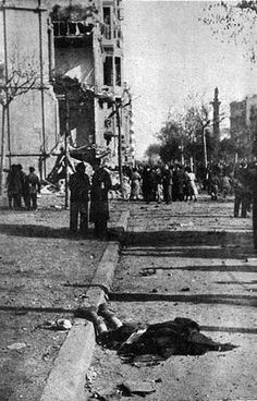 March1938. Barcelona after a criminal fascist air raid over civilian population during the illegal insurrection promoted by Franco against the Spanish Republic.