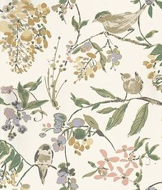 Penglai Coral, Lavender and Green wallpaper by Nina Campbell