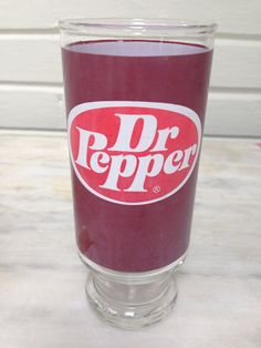vintage Dr. Pepper glass, glass tumbler, 7 inches tall, soda glass, RARE by MotherMuse on Etsy