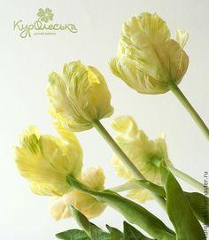 Цветы ручной работы. Ярмарка Мастеров - ручная работа. Купить Тюльпаны Цветы из полимерной глины Холодный фарфор. Handmade. Желтый
