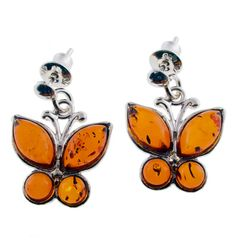 Cognac Amber Butterfly Earrings Amber Jewelry with Insects