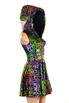 Neon Blue Lighting Print Pocket Tank Skater Dress | Dress me up ...