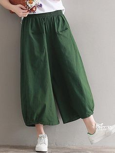 Vintage Women Elastic Waist Pure Color Wide Leg Pants