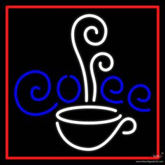 White Cup Blue Coffee With Red Border Real Neon Glass Tube Neon Sign,Affordable and durable,Made in USA,if you want to get it ,please click the visit button or go to my website,you can get everything neon from us. based in CA USA, free shipping and 1 year warranty , 24/7 service