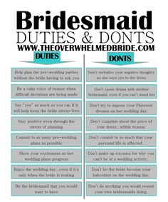 """Bridesmaid's Duties and Don'ts""- Be the Bridesmaid that YOU would want to have. :)  http://www.theoverwhelmedbride.com"