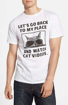 Let's Go Back to My Place and Watch Cat Videos #graphictee #mensfashion #funnyshirt