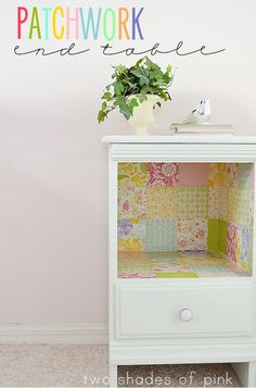 Patchwork End Table - mod podged squares of paper in cubby and in drawer - love!