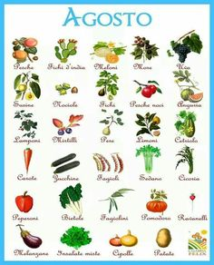 Frutta e verdura di agosto.  Fonte: www.facebook.com/dietapersonalizzata