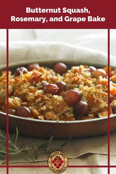 Need an easy and quick side dish recipe for Thanksgiving? Try this delicious in-oven bake recipe with savory butternut squash, sweet California grapes, rosemary, and parmesan. #butternutsquash #butternutsquashbaked #inoven #recipes #sweet #thanksgiving #savory #easy #baked #butternutsquashrecipes #grapes #graperecipes Winter Recipes, Thanksgiving Recipes, Healthy Chicken Recipes, Vegetarian Recipes, Appetizer Recipes, Dessert Recipes, Christmas Side Dishes, Grape Recipes, California Food
