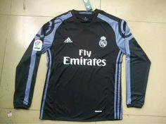 Real Madrid 16/17 Black Longsleeve Jersey Real Madrid Soccer, 17 Black, Adidas Jacket, Long Sleeve, Mens Tops, Jackets, Madrid 2016, Third, Fashion