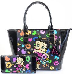 Betty Boop Rock N Roll Guitar Black Tote Bag Purse & Wallet Set