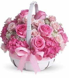 Basket filled with pink flowers