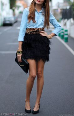 Denim, leopard & a feathery black mini!? So many trends yet SO perfect!! xoxo Beautylove Aprons