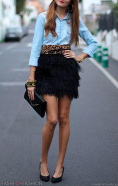 Denim, leopard & a feathery black mini!? So many trends yet SO perfect!! xoxo Beautylove Aprons