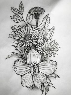 Tatoo Flowers, Flower Tattoo Drawings, Flower Tattoo Designs, Rose Tattoos, Flower Tattoos, Black Tattoos, Flower Sketches, Line Work Tattoo, Cover Up Tattoos