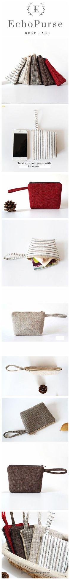 Handmade Simple Wallet, Canvas Zip Coin Purse, Small Card Wallet, Coin Pouch, Handbags BB065-1
