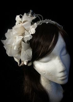 Steampunk lolita headband in embossed white by TheTimeCabinet
