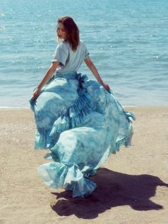 """Model Catherine McNeil ( photographed by Laura Sciacovelli ( in """"Romantic Swept Away"""" for Ladies & Gents April/May Stylist: Stefano Roncato Karmen Pedaru, Catherine Mcneil, Hi Low Skirts, Swept Away, Campaign Fashion, Ladies Gents, Fashion Portfolio, Beach Look, Photos Of Women"""