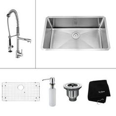 Kraus Kitchen Combo 18-in x 30-in Stainless Steel Single-Basin Undermount Kitchen Sink