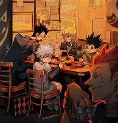 Hunter x Hunter ~ Hisoka, Leorio, Killua, Gon and Kurapika Hisoka, Killua, Kalluto Zoldyck, Hunter X Hunter, Hunter Anime, Dark Hunter, City Hunter, Manga Anime, Movie Posters