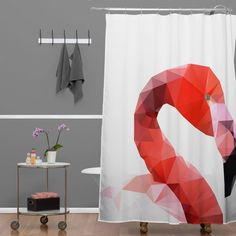 Three Of The Possessed Pink Flamingo Shower Curtain   DENY Designs Home Accessories