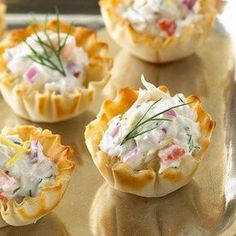 Ingredients: 1 cup cooked crabmeat or one 6-ounce can crabmeat, drained, flaked, and cartilage removed 30 miniature phyllo dough shells (...