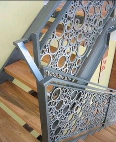 recycled metal pipe cross sections stair railing and banister