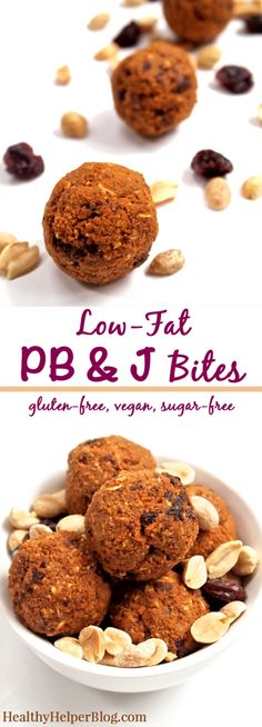Low-Fat PB & J Bites from Healthy Helper Blog...all the classic pb & j taste you love in a perfect snackable bite! Vegan, gluten-free, and no added sugar.
