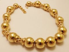 Gold Tone Monet  Large Bead Statement by TheJewelryCabinet on Etsy