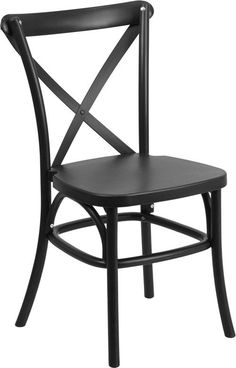 Flash Furniture LE-9-BK-GG HERCULES Series Black Resin Indoor-Outdoor Cross Back Chair with Steel Inner Leg