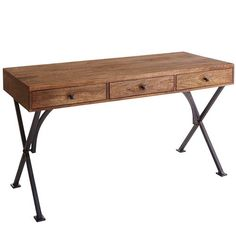 The rustic industrial-style Metro Desk offers modern minimalism with a retro flair. Its richly grained, kiln-dried hardwood top rests solidly on a square, metal frame. Home Office Design, Home Office Decor, Unique Home Decor, Home Decor Items, Decorating Office, Decorating Ideas, Home Office Furniture, Furniture Sale, Discount Furniture