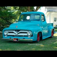 55 Ford F-100. I would really like to own one of these old fords painted to look rusty but cram the biggest engine possible haha