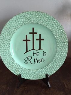 Hey, I found this really awesome Etsy listing at https://www.etsy.com/listing/268494348/he-is-risen-decorative-plate-easter