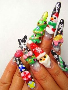 3D Christmas Nail Art Design...Aint nobody got time for that!