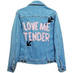 LOVE ME TENDER DENIM JACKET (€100) ❤ liked on Polyvore featuring outerwear, jackets, tops, coats, jean jacket, blue jackets, blue jean jacket, blue denim jacket and denim jacket