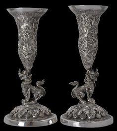 Burmese Silver Bud Vases