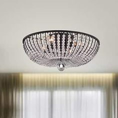 Decorate your home with the Connie Antique Black Crystal Beads Flush Mount Chandelier. This chandelier is made of crystal and iron and will look beautiful in your entryway or dining area. Flush Mount Chandelier, 3 Light Chandelier, Flush Mount Lighting, Lamp Light, Crystal Chandeliers, Lounge Lighting, Living Room Lighting, Cool Lighting, Lighting Ideas