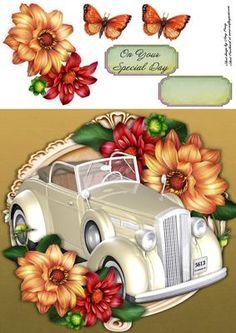 Beautiful Cream Wedding Car With Dahilia a 8x8 on Craftsuprint - View Now!