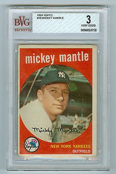 Mickey Mantle 1959 Topps Baseball card #10 BVG Graded 3 VG
