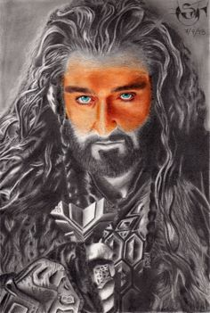 Drawing in graphite and color of Thorin Oakenshield, The Hobbit's character