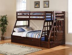 Jason Espresso Twin over Full Bunk Bed with Storage Ladder and Trundle