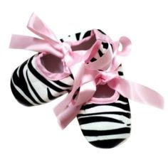 Baby Girls Pre Walker Soft Sole Shoes, Pink & Black Zebra Animal with Pink Ribbons