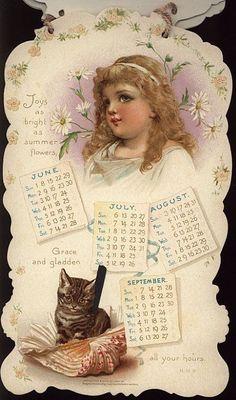 PLAYMATES CALENDAR FOR 1902. Vintage Ephemera, Vintage Cards, Vintage Paper, Vintage Postcards, Vintage Images, Illustrations Vintage, Vintage Artwork, Vintage Prints, Calendar Girls