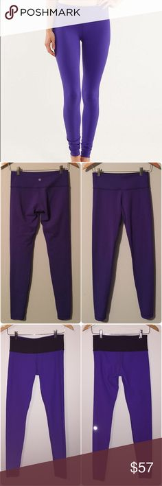 Lululemon wunder unders Lululemon purple wunder unders, size 6, gently worn and in good condition, some light piling in crotch area. They are actually reversible to purple on the other side with black waist and lulu logo on the leg(see pic  3-I also have the flash on in that picture to show you more detail). Super soft Luon fabric is moisture wicking, breathable, with four way stretch. Key pocket on waist, full length, hugged sensation, medium rise. Bundle to save ❤️ lululemon athletica…