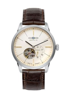 Zeppelin Flatline Men's Goldtone Automatic Open Heart Watch (Stainless Steel Case, Leather Strap), White Size: One Size Fits All Fine Watches, Watches For Men, Men's Watches, Silver Watches, Zeppelin Watch, Leather Case, Brown Leather, Crocodile, Elegant Watches