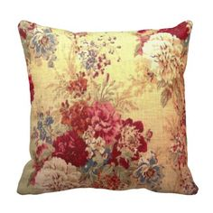 Romantic Floral Bouquet Throw Pillows