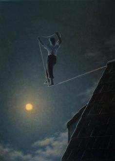 Walking a tightrope to the moon    Giacomond by Quint Buchholz