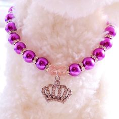 Puppy Dog Necklace For Pets Rhinestone Crown Heart Chihuahua Poodle Cat Pink/Blue/Purple Pearl Small Animals Jewelry Accessories Dog Jewelry, Animal Jewelry, Chat Rose, Sims Pets, Poodle, Chihuahua, Diy Dog Collar, Cat Collars, Animal Room
